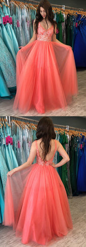 A-line V neck Watermelon Rustic Prom Dresses With Lace Prom Gowns , Y0700