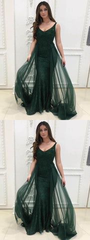 Dark Green Lace Prom Dresses Mermaid V neck Long Evening Gowns, Y0701