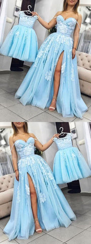 A-line Sweetheart Light Blue Prom Dresses With Lace Vintage Evening Dress , Y0704