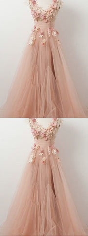 A-line V neck Beautiful Floral Prom Dresses Tulle Long Prom Dress Evening Dress , Y0706