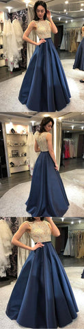 2019 Chic A-line Scoop Prom Dress Floor Length Beading Prom Dress Evening Dresses , Y0710