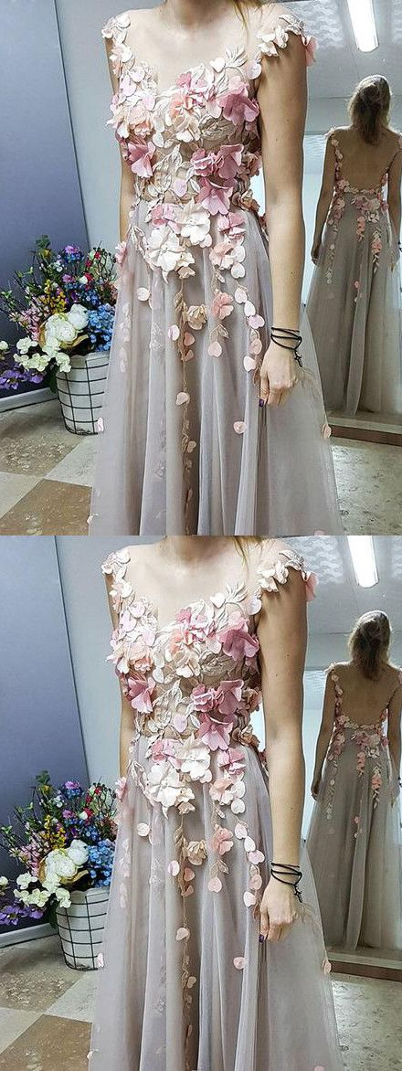 2019 Chic A-line Scoop Floral Prom Dress Floor Length Prom Dresses Applique Evening Dresses , Y0713