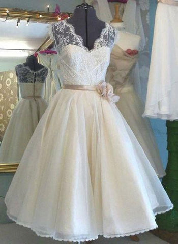 A-line V-neck Sleeveless T-length Princess Lace Bodice Organza Skirt,Short Ivory Wedding Dress,Sweetheart prom dress, Y0777