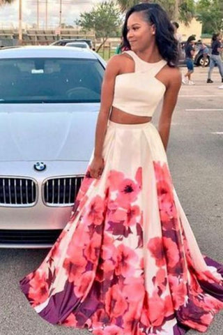 white two pieces long prom dress, flower evening dress, Y0878