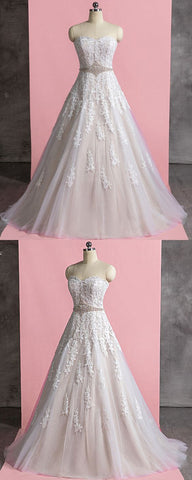 Sweetheart Ivory Tulle Pearl Waistline Long A Line Wedding Dress With Applique, Y0892