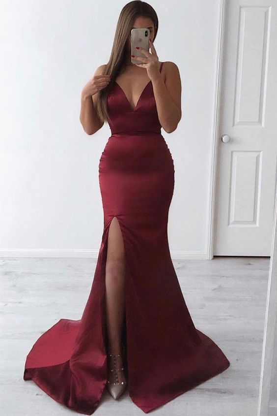 Slim Plunge Neck Open Back Burgundy Mermaid Prom Dresses Sexy Long Evening Dress Party Dress, Y0940