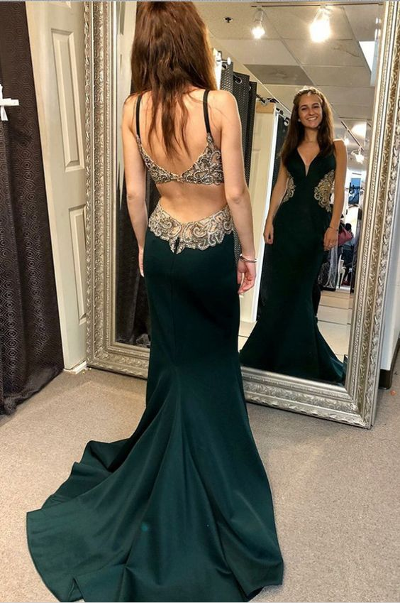 A-Line Open Back Green Satin Prom Dress with Appliques Beading by prom dresses, Y0941