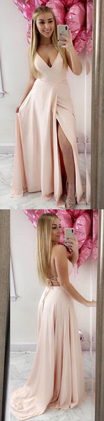 Pink Floor Length Prom Evening Dress with Side-Slit, Y0950