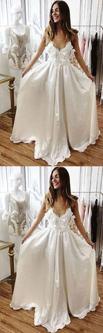 Charming A-Line V-Neck White Lace Long Prom/Evening/Wedding Dress, Y0952