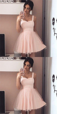 Simple A-Line Straps Short Cheap Pink Tulle Homecoming Dresses, Y0986
