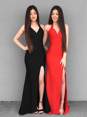 V Neck Mermaid Black/Red Long Prom Dresses with Side Slit, Mermaid Black/Red Bridesmaid Dresses, Graduation Dresses,AE568