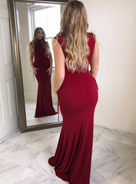 Sheath High Neck Dark Red Spandex Prom Dress with Beading,AE577