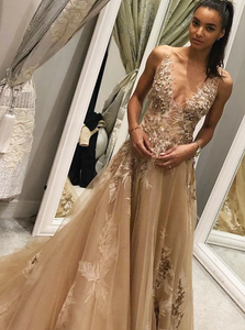 A-Line V-Neck Champagne Tulle Prom Dress with Beading Appliques,AE579
