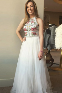 Beautiful 2 Pieces Elegant Ivory Embroidery Prom Dresses Party Dresses,AE583