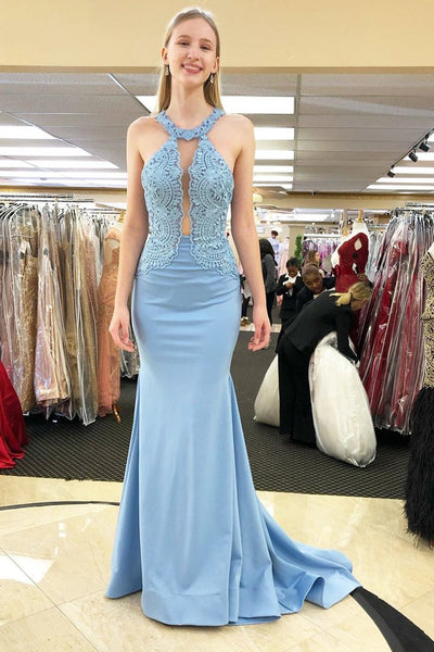 2019 Prom Dresses Mermaid Satin With Appliques Sweep Train,AE584