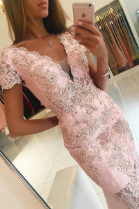 2019 V Neck Short Sleeves Prom Dresses Mermaid Lace With Applique And Beads,AE585