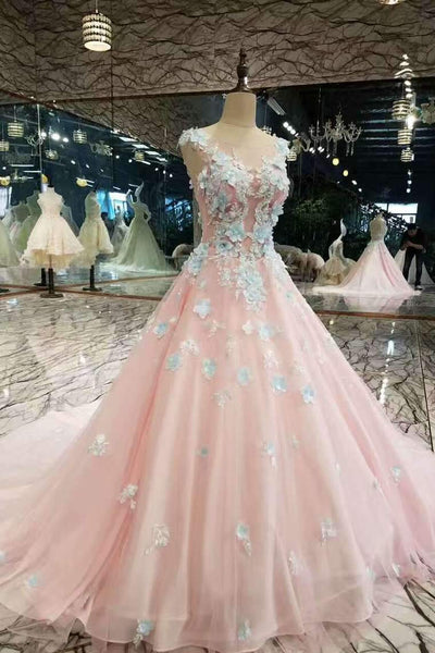 2020 Low Price Floral Prom Dresses Pink Color With Handmade Flowers And Beads,AE587