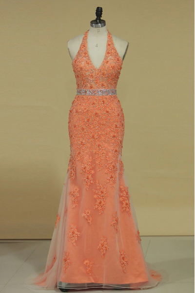 2020 Column V Neck Prom Dresses Tulle With Beading And Applique Open Back,AE591