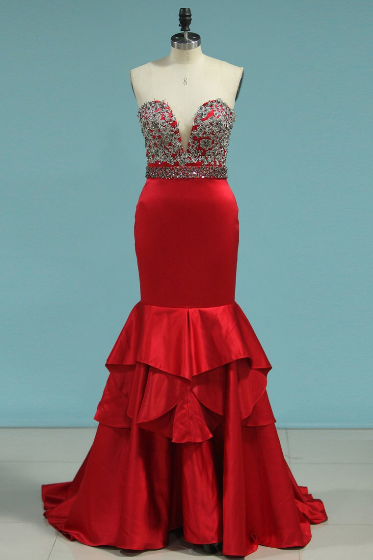2020 New Arrival Mermaid V Neck Prom Dresses Satin With Beads&Appliques,AE604