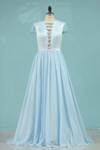 2020 A Line Prom Dresses Short Sleeves Satin & Chiffon With Beading,AE609
