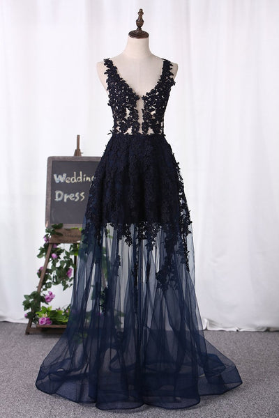 2020 Open Back V Neck Prom Dresses A Line Tulle With Applique,AE616