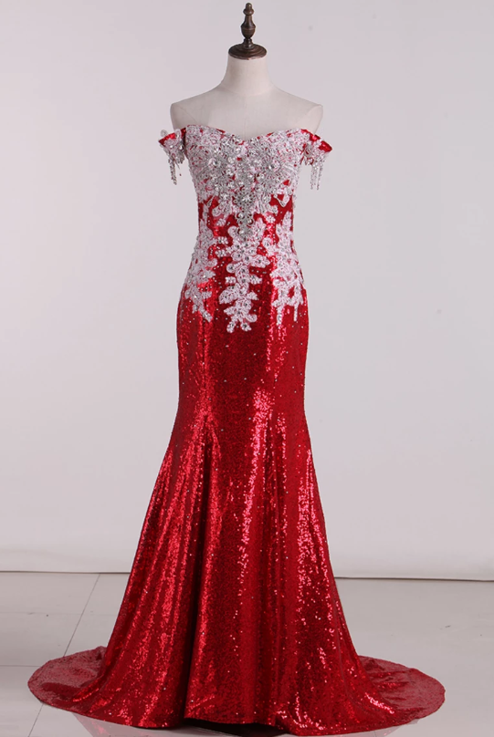 2020 Prom Dresses Sweep Train Mermaid Off-The-Shoulder Sequins Lace Red,AE617