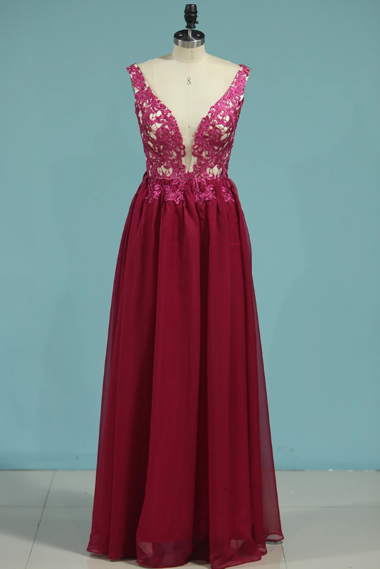 2020 Prom Dresses V Neck 30D Chiffon With Applique Sweep Train A Line,AE620