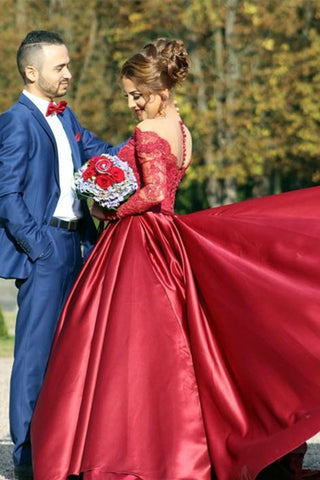 2019 A Line Scoop Prom Dresses Long Sleeves Satin With Applique Court Train,AE687