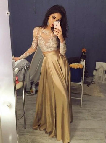 Two Piece Crew Floor-Length Long Sleeves Gold Stretch Satin Prom Dress with Lace,AE779