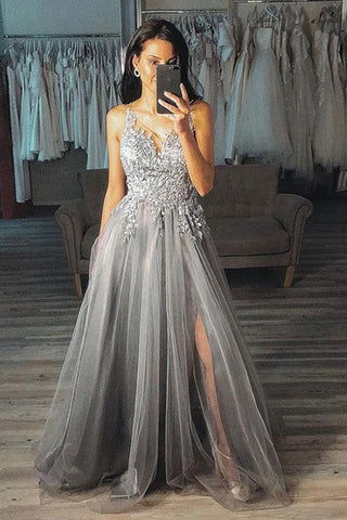 Grey A Line V Neck Long Appliques Tulle Prom Dress, Gray Split Long Evening Dress,AE780