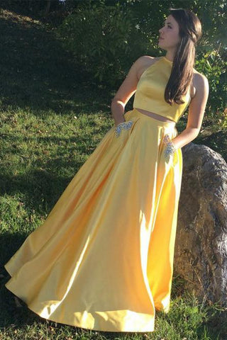 Yellow Satin Two Pieces Long Homecoming Dress with Silver Beading, Prom Dress,AE785