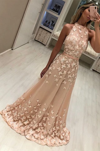 Modest High Neck Sleeveless Sweep Train Prom Evening Dresses with Appliques,AE791