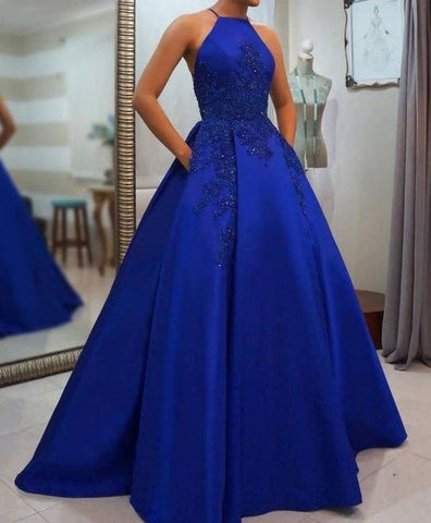 SIMPLE ROYAL BLUE LONG PROM DRESS BLUE EVENING DRESS SATIN A-LINE PROM DRESSES FASHION DRESS,AE792