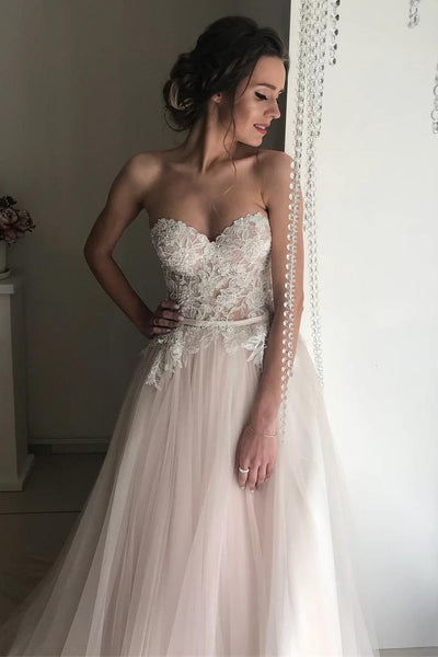 A-line Sweetheart Boho Wedding Dress Lace Romantic Wedding Dresses,AE802