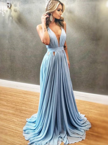 Unique A Line V Neck Blue Pleated Chiffon Long Prom Dresses, V Neck Blue Formal Dresses, Blue Evening Bridesmaid Dresses,AE824
