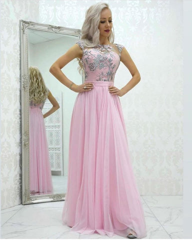 A-line Bateau Cap Sleeve Pink Prom Dresses Lace Evening Dresses,AE833