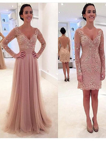 Custom Made V Neck Long Sleeves Lace Wedding Dresses, Lace Prom Dresses, Formal Dresses,AE832
