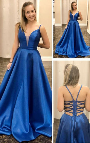 Elegant Royal Blue Satin Long Prom Dress, 2020 Dress, Graduation Dress,AE838