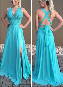 A-line Deep V neck Sleeveless Prom Dresses,AE839
