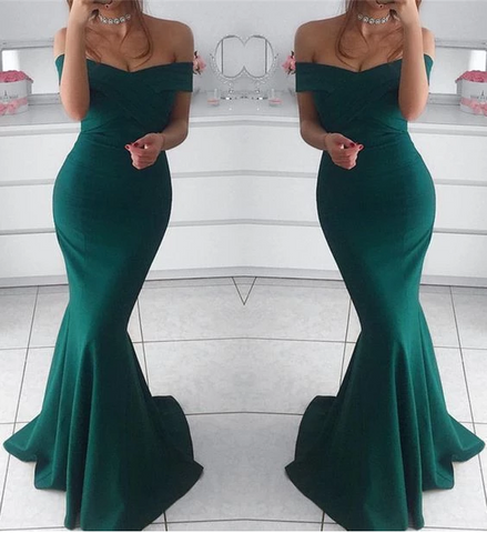 Hunter green prom dress,mermaid prom dress,off the shoulder evening gowns,AE842