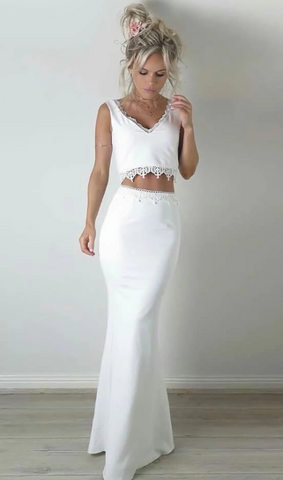 white two piece prom dress,AE846
