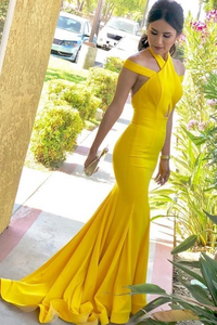 Mermaid Halter Backless Sweep Train Yellow Satin Prom Dress with Keyhole,AE852