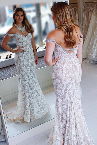 Elegant Off the Shoulder Mermaid White Lace Evening Dress,AE930