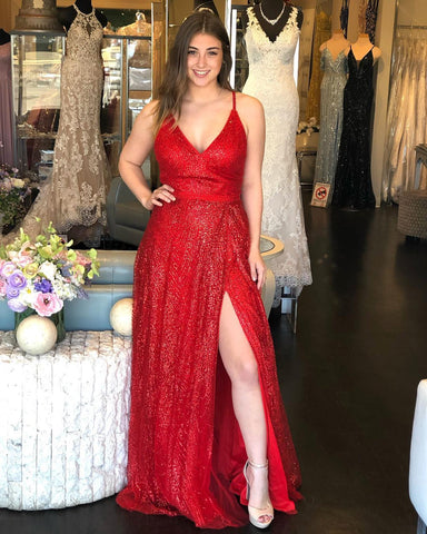 Princess Red Long Prom Dress with Slit,DR2609