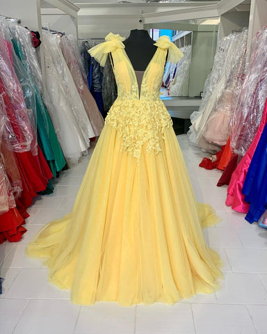 Priness Yellow Tulle Long Formal Dress,DR2605
