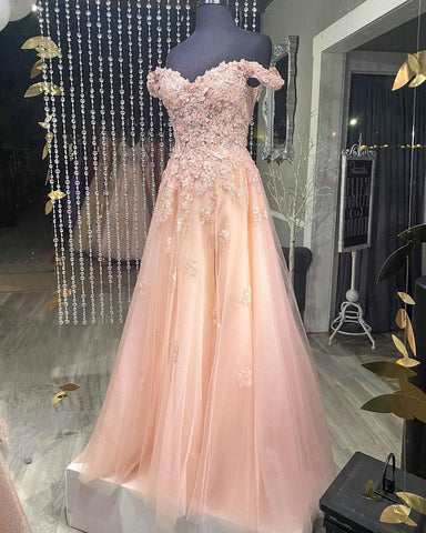 Off the Shoulder Blush Pink Tulle Formal Dress,DR2599