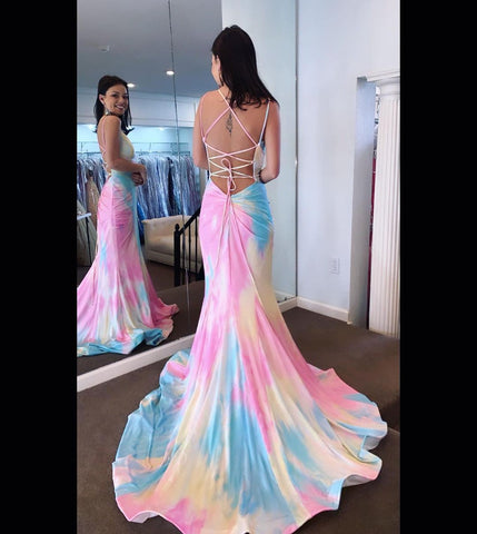 Mermaid Tie Dye Long Prom Dress,DR2597