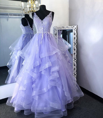 A-line V Neck Lavender Tulle Long Prom Dress,DR2594