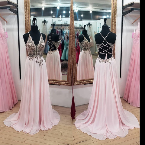 Princess Pink Chiffon Long Prom Dress,DR2592