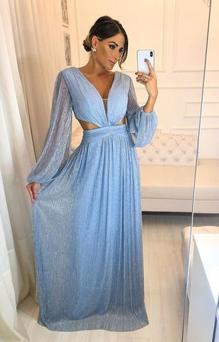 Blue Charming Prom Dress , Long Sleeves Prom Dress,DR2591